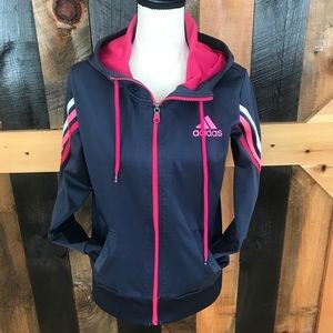 Adidas hooded zip front athletic jacket